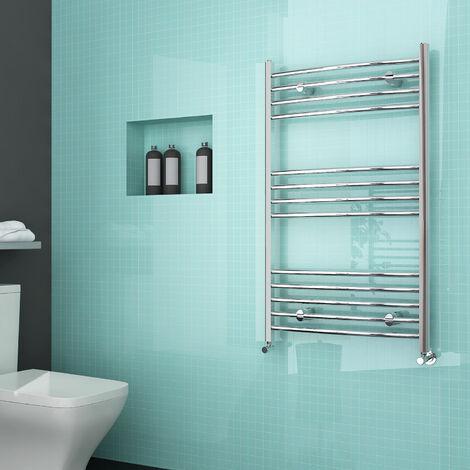 "main image of ""ELEGANT 1000 x 600 Modern Chrome Designer Curved Heated Towel Rail Radiator"""