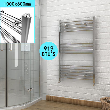 "main image of ""ELEGANT 1000 x 600 Modern Chrome Designer Curved Heated Towel Rail Radiator + Angled Radiator Valves"""