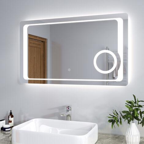 ELEGANT 1000 x 600mm Anti-foggy Wall Mounted Mirror, Frontlit LED Illuminated Bathroom Mirror with 230V Shaver Socket, 3 Times Magnifying