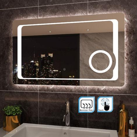 ELEGANT 1000 x 600mm Anti-foggy Wall Mounted Mirror,Frontlit LED Illuminated Bathroom Mirror with 230V Shaver Socket, 3 Times Magnifying