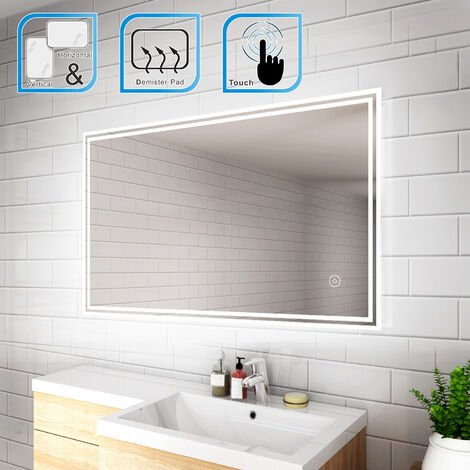 ELEGANT 1000 x 600mm Backlit LED Illuminated Bathroom Mirror with Light Sensor + Demister