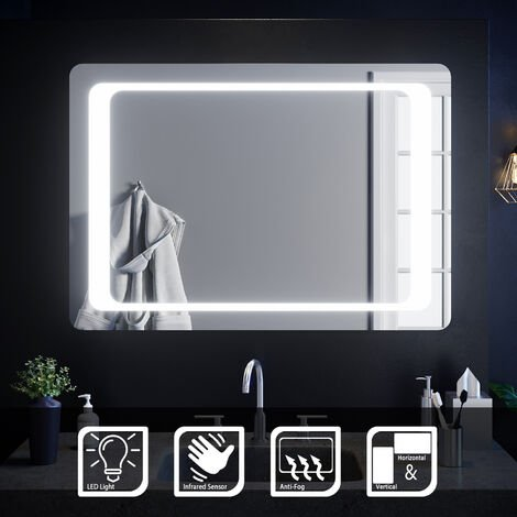 ELEGANT 1000 x 700 mm Illuminated LED Bathroom Mirror Light Infrared Sensor + Demister