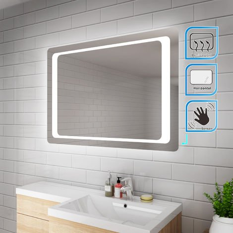 ELEGANT 1000 x 700 mm Illuminated LED Bathroom Mirror Light Touch Sensor + Demister