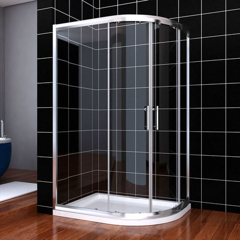 ELEGANT 1000 x 800 mm offset Quadrant Shower Enclosure 6mm Tempered Sliding Glass Cubicle Door