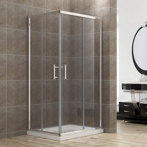 ELEGANT 1000 x 800 mm Sliding Corner Entry Shower Enclosure Door Cubicle