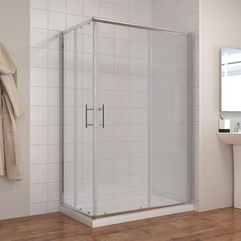 ELEGANT 1000 x 800 mm Sliding Corner Entry Shower Enclosure Door Cubicle with Tray