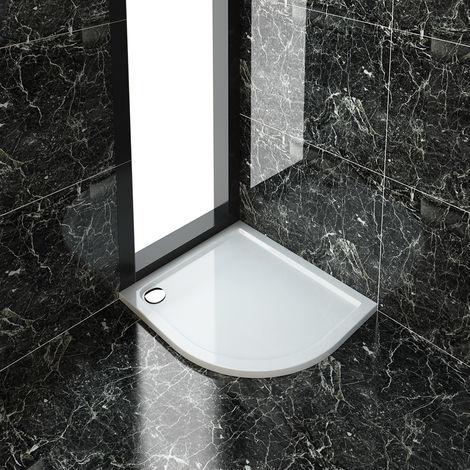 ELEGANT 1000 x 800 x 40 mm Quadrant Stone Tray RIGHT for Shower Enclosure Cubicle + Waste Trap