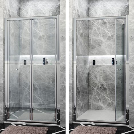 ELEGANT 1000mm Bi Fold Shower Enclosure Inwards opening, Space Saving Shower Door
