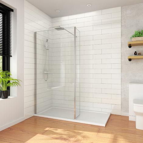 ELEGANT 1000mm Frameless Wet Room Shower Screen Panel 8mm Easy Clean Glass Walk in Shower Enclosure + 300mm Return Panel