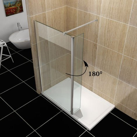 ELEGANT 1000mm Frameless Wet Room Shower Screen Panel 8mm Easy Clean Glass Walk in Shower Enclosure with 300mm Return Panel + Support Bar