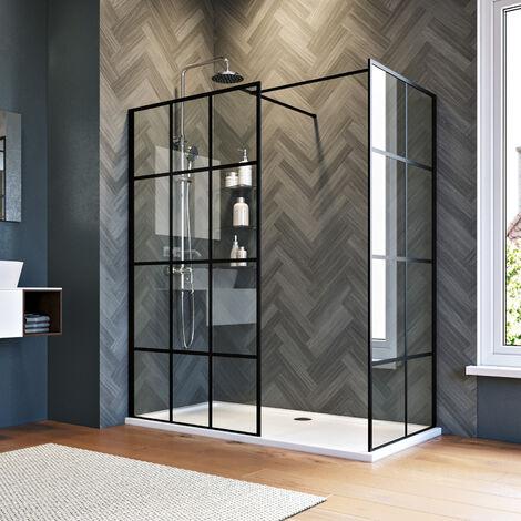 ELEGANT 1000mm Walk in Shower Door Wet Room, 760mm Side panel, Reversible Shower Screen Panel 8mm Safety Glass, Matte Black Walkin Shower Enclosure Cubicle with 1400x760mm Shower Tray