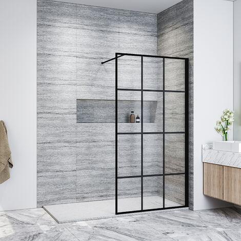 "main image of ""ELEGANT 1000mm Walk in Shower Door Wet Room Reversible Shower Screen Panel 8mm Safety Glass, Matte Black Walkin Shower Enclosure Cubicle with 1400x800mm High Qualiy Anti-Slip Resin Shower Tray"""