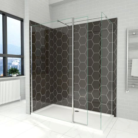 Elegant 1000mm Walk in Shower Screen, 6mm Tougheded Safety Wet Room with 1600x900mm Tray,Flipper and Side Panel Included