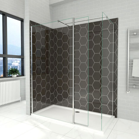 Elegant 1000mm Walk in Shower Screen, 6mm Tougheded Safety Wet Room with 1700x800mm Tray,Flipper and Side Panel Included