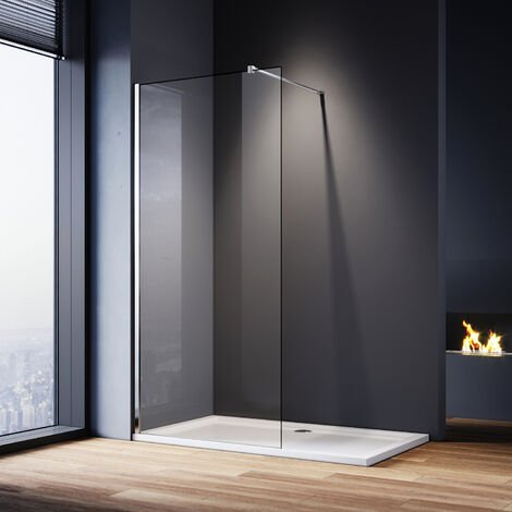 ELEGANT 1000mm Walk in Shower Screen Glass Panel + 1000x700mm Shower Tray, 8mm Easy Clean Glass Wet Room Shower Enclosure, 1900mm Height