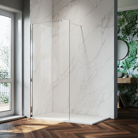ELEGANT 1000mm Walk in Shower Screen Glass Panel + 1400x900mm Slip-Resistance Shower Tray, 8mm Easy Clean Glass Wet Room Shower Enclosure, 1900mm Height