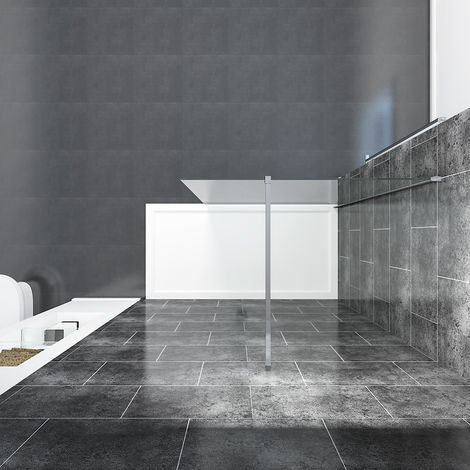 ELEGANT 1000mm Wet Room Shower Enclosure Easy Clean Screen Panel with 760x1600mm Walk in Stone Shower Tray and Waste