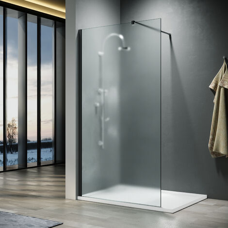 """main image of """"ELEGANT 1000x1900mm Bathroom Walkin Shower Door Wet Room Enclosure Cubicles 8mm Full Frosted Easy Clean Safety Glass Bath Shower Screens Panel with Black Support Bars"""""""
