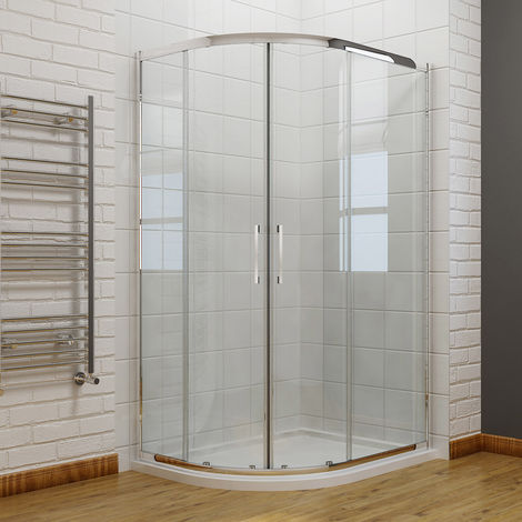 ELEGANT 1000x900mm Right Offset Quadrant Shower Enclosure 8mm Easy Clean Glass Sliding Shower Door with Stone Shower Tray + Waste