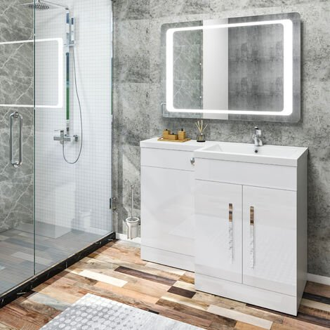 ELEGANT 1100 Bathroom Vanity Units with Basin L Shape High Gloss White Vanity Sink Units Right Hand + Vitreous Resin Basin + Concealed Cisterm, Ensuit Furniture Under Sink Cabinet