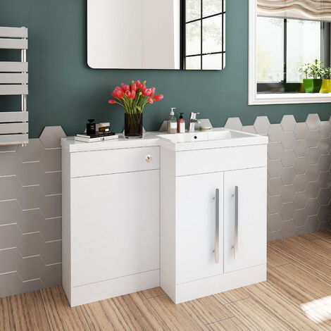 ELEGANT 1100 Bathroom Vanity Units with Basin L Shape Right Hand High Gloss White Vanity Sink Units + Vitreous Resin Basin + Concealed Cisterm, Ensuit Furniture Under Sink Cabinet