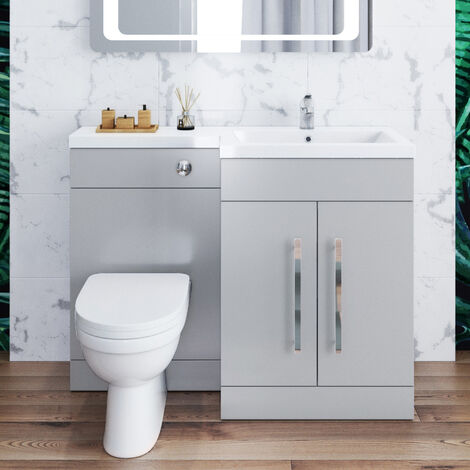 ELEGANT 1100mm Bathroom Vanity Sink Unit Furniture Storage,Left Hand Matte Grey Vanity unit + Basin + Ceramic D shaped Toilet with Concealed Cistern
