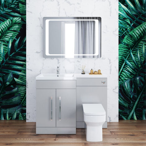 ELEGANT 1100mm Bathroom Vanity Sink Unit Furniture Storage,Left Hand Matte Grey Vanity unit + Basin + Ceramic Square Toilet with Concealed Cistern