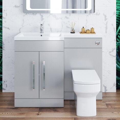 ELEGANT 1100mm Bathroom Vanity Sink Unit Furniture Storage,Left Hand Matte Grey Vanity unit + Basin + Ceramic Square Toilet with Concealed Cistern + toilet brush