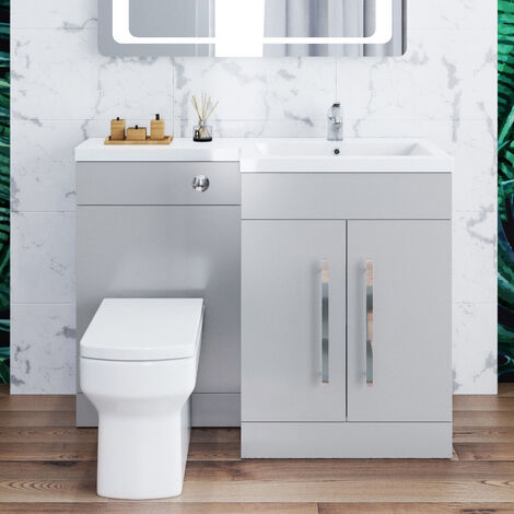 ELEGANT 1100mm Bathroom Vanity Sink Unit Furniture Storage,Right Hand Matte Grey Vanity unit + Basin + Ceramic Square Toilet with Concealed Cistern