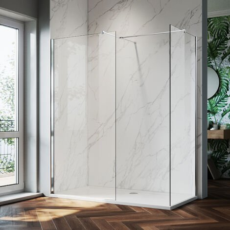 ELEGANT 1100mm Frameless Wet Room Shower Screen Panel, 700mm Side panel, Walk in Shower Enclosure with Support Bar, 8mm Easy Clean Glass, 1900mm Height