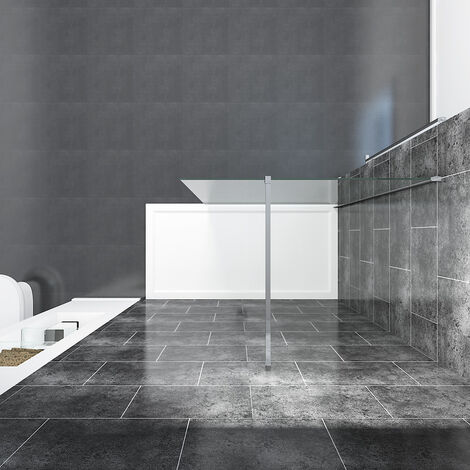 ELEGANT 1100mm Frameless Wet Room Shower Screen Panel 8mm Easy Clean Glass Walk in Shower Enclosure with Stainless Steel Support Bar