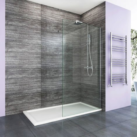 ELEGANT 1100mm Frameless Wet Room Shower Screen Panel 8mm Easy Clean Glass Walk in Shower Enclosure with Support Bar