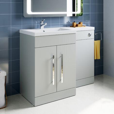 ELEGANT 1100mm L Shape Bathroom Vanity Sink Unit Furniture Storage, Left Hand Matte Grey Vanity unit + Resin Basin + Concealed Cistern