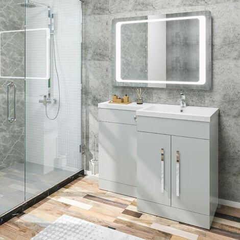 ELEGANT 1100mm L Shape Bathroom Vanity Sink Unit Furniture Storage, Matte Grey Vanity Unit with Concealed Cistern + Basin