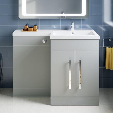 ELEGANT 1100mm L Shape Bathroom Vanity Sink Unit Furniture Storage, Right Hand Matte Grey Vanity unit + Resin Basin + Concealed Cistern