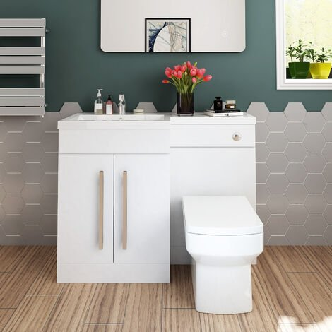 ELEGANT 1100mm L Shape Bathroom Vanity Sink Unit Furniture Storage,Left Hand High Gloss White Vanity unit + Basin + Ceramic Square Toilet with Concealed Cistern
