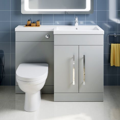 ELEGANT 1100mm L Shape Bathroom Vanity Sink Unit Furniture Storage,Left Hand Matte Grey Vanity unit + Basin + Ceramic D shaped Toilet with Concealed Cistern