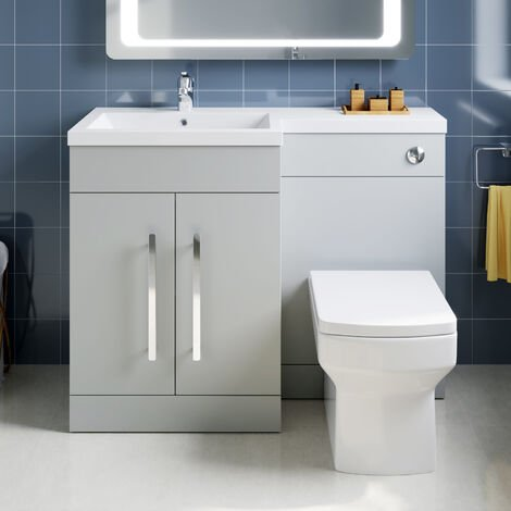 ELEGANT 1100mm L Shape Bathroom Vanity Sink Unit Furniture Storage,Left Hand Matte Grey Vanity unit + Basin + Ceramic Square Toilet with Concealed Cistern