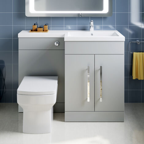 ELEGANT 1100mm L Shape Bathroom Vanity Sink Unit Furniture Storage,Right Hand Matte Grey Vanity unit + Basin + Ceramic Square Toilet with Concealed Cistern
