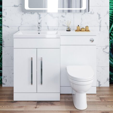 ELEGANT 1100mm L Shape Bathroom Vanity Sink Unit Storage,Left Hand High Gloss White Vanity unit + Basin + Ceramic D shaped Toilet with Concealed Cistern
