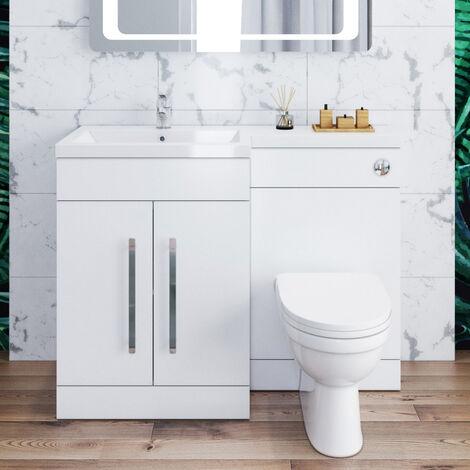 ELEGANT 1100mm L Shape Bathroom Vanity Sink Unit Storage,Left Hand High Gloss White Vanity unit + Basin + Ceramic D shaped Toilet with Concealed Cistern + toilet brush
