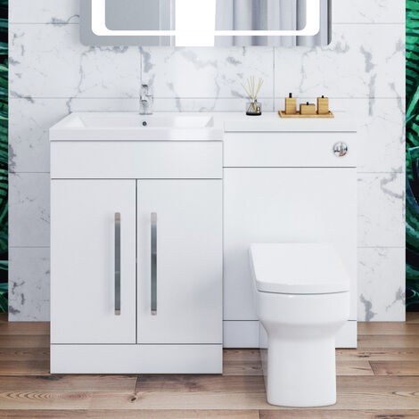 ELEGANT 1100mm L Shape Bathroom Vanity Sink Unit Storage,Left Hand High Gloss White Vanity unit + Basin + Ceramic Square Toilet with Concealed Cistern