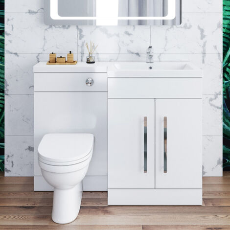 ELEGANT 1100mm L Shape Bathroom Vanity Sink Unit Storage,Right Hand High Gloss White Vanity unit + Basin + Ceramic D shaped Toilet with Concealed Cistern