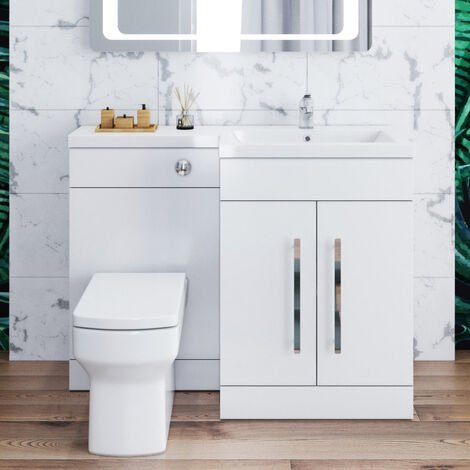 ELEGANT 1100mm L Shape Bathroom Vanity Sink Unit Storage,Right Hand High Gloss White Vanity unit + Basin + Ceramic Square Toilet with Concealed Cistern