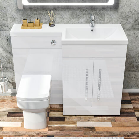 ELEGANT 1100mm L Shape Right Hand Bathroom Vanity Sink Unit Furniture Storage,High Gloss White Vanity unit + Basin + Ceramic Square Toilet with Concealed Cistern