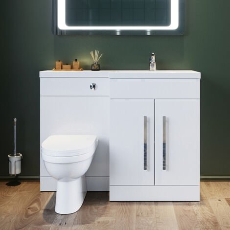 ELEGANT 1100mm L Shape Right Hand Bathroom Vanity Sink Unit Furniture Storage,Vanity unit + Basin + Ceramic D shaped Toilet with Concealed Cistern High Gloss White