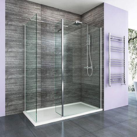 ELEGANT 1100mm Walk in Shower Enclosure 8mm Easy Clean Wetroom Shower Screen 300mm Flipper Panel + 700mm Side Panel