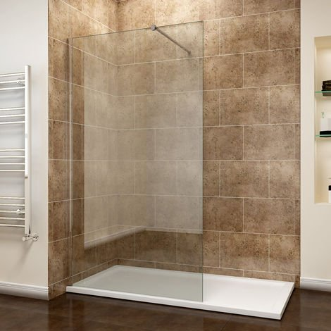 ELEGANT 1100mm Wet Room Shower Enclosure Easy Clean Screen Panel with 1400x700mm Walk in Stone Shower Tray and Waste