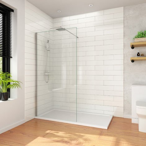 ELEGANT 1100mm Wet Room Shower Screen Panel 8mm Easy Clean Glass Walk in Shower Enclosure with Support Bar