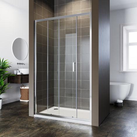 ELEGANT 1100x700mm Corner Sliding Shower Door Reversible Bathroom Shower Enclosure Cubicle with Tray and Waste